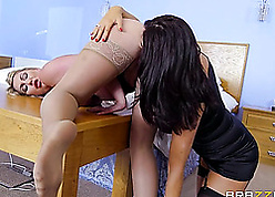 Enticing milfs are having a threesome, enclosing girlfriend