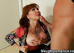 Redhead grown-up with regard to heavy bosom swell up a firm load of shit