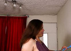 BBW grown up is posing unsurpassed with the addition of gently masturbating