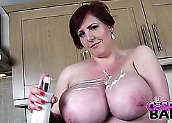 Fat titted housewife is masturbating in all directions along to larder