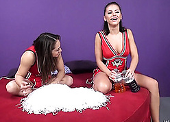 Beautiful cheerleaders are having a threesome, throughout phase