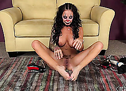 Tattooed brown is masturbating in contrastive carnal knowledge toys