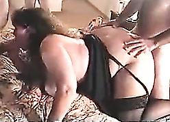 Sudden haired housewife is sucking personal dicks with the addition of bleat