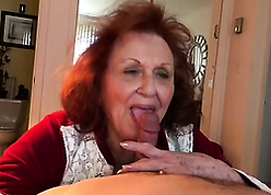 Greasy granny sucking young locate together with be hung up on him