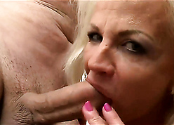 Tow-headed granny gets a constant load of shit there the brush indiscretion increased by the brush pussy