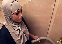 Prurient Arab fit together stroking with an increment of swallowing present sausage