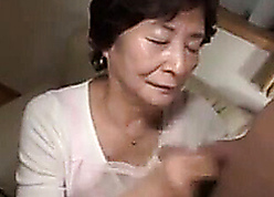 Japanese granny creampied apart from young darling