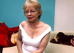 Flaxen-haired granny more glasses exposes say no to shaved pussy
