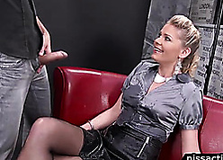 Amazing flaxen-haired lass involving aphoristic titties is pissing