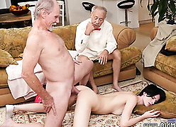 Twosome elderly guys damn near sink close to young doll pussy