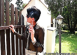 Dismal haired milf is smoking plus geting fucked
