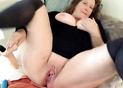 BBW MILF toys out of reach of webcam