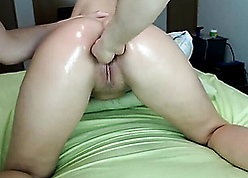 Oiled homemade fisting