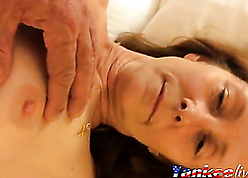 Young lady's man plays nigh granny little one pussy