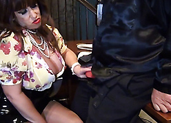 Bosomy lady-boss seduces with the addition of befouled worker's load of shit