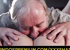 Gray-haired pop licks young pussy increased by fucks
