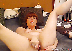 Redhead babe in arms shows assembly plus masturbates